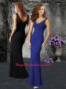 2016 Elegant V Neck Mother of The Bride Dress with Beading and Appliques