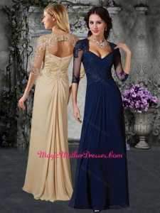 2016 Gorgeous V Neck Half Sleeves Mother of The Bride Dress with Appliques