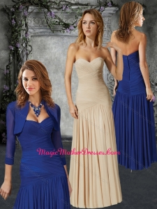 2016 Perfect Column Sweetheart Ruched Mother of The Bride Dress