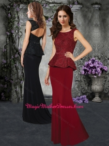 2016 Column Scoop Wine Red Mother of The Bride Dress with Lace and Beading