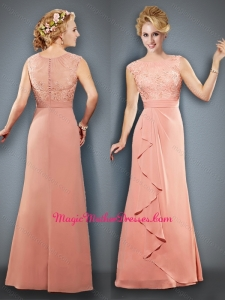 2016 Empire Bateau Peach Mother of The Bride Dress with Appliques