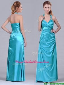2016 Column Halter Top Elastic Woven Satin Aqua Blue Mother Of The Bride Dress with Ruching