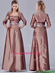 Column Sweetheart Brown Side Zipper Beaded Mother Of The Bride Dress with Jacket