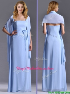 Elegant Empire Light Blue Long Mother Of The Bride Dress with Handcrafted Flowers