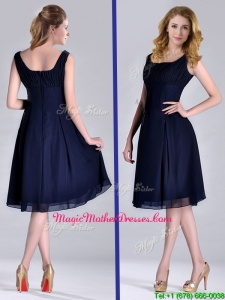 Latest Square Empire Chiffon Navy Blue Mother Of The Bride Dress with Ruching