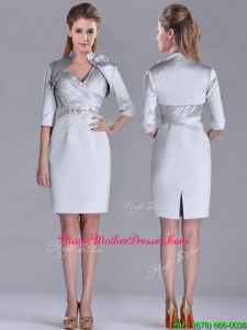 Popular Column Belted with Beading Silver Mother Of The Bride Dress with V Neck