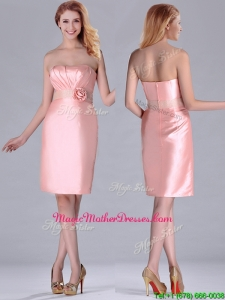 Short Strapless Knee Length Pink Mother Of The Bride Dress with Hand Crafted and Beading