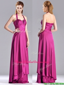 Classical Halter Top Fuchsia Long Mother Of The Bride Dress in Elastic Woven Satin