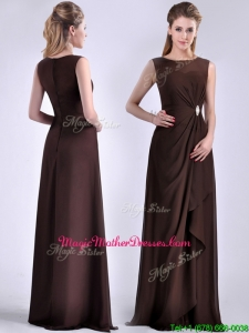 Modest Bateau Brown Chiffon Long Mother Of The Bride Dress with Zipper Up