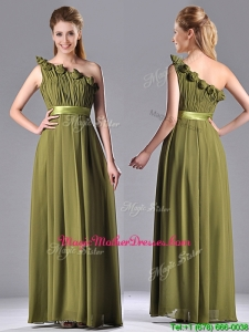 Empire One Shoulder Ruched and Belt Prom Dress in Olive Green