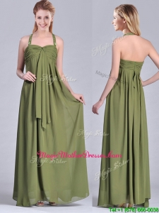 Latest Beaded Decorated Halter Top Mother Of Groom Dress in Olive Green