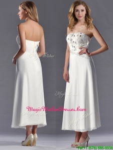 Beautiful Applique with Beading White Unique Mother Of The Bride Dress in Tea Length