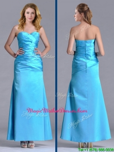 New Arrivals Sweetheart Aqua Blue Ankle Length Unique Mother Of The Bride Dress in Taffeta