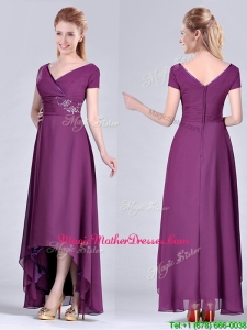 Short High-low Chiffon Dark Purple Short Sleeves Unique Mother Of The Bride Dress with V Neck