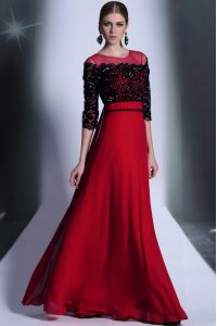 Scoop 3 4 Length Sleeve Floor Length Beading and Appliques Clasp Handle Mother Of The Bride Dress with Red And Black