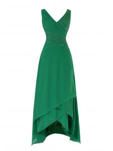 Asymmetrical Green Mother Of The Bride Dress Chiffon Sleeveless Beading and Ruching