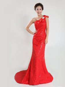 One Shoulder Sleeveless Sequined Mother Of The Bride Dress Sequins and Bowknot Sweep Train Zipper
