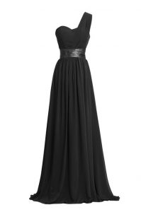 Latest One Shoulder Sleeveless Floor Length Ruching and Belt Zipper Mother Of The Bride Dress with Black