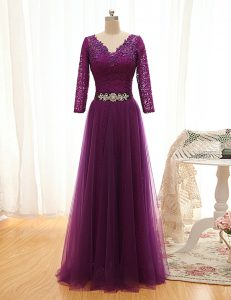 Purple 3 4 Length Sleeve Beading and Lace Floor Length Mother of Groom Dress