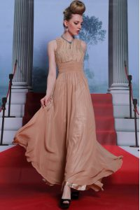 Extravagant Scoop Peach Sleeveless Floor Length Beading and Sequins and Ruching Clasp Handle Mother Of The Bride Dress