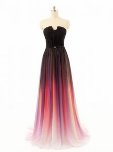 Super Multi-color Zipper Strapless Belt Mother Of The Bride Dress Chiffon and Fading Color Sleeveless Sweep Train