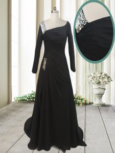 With Train Black Mother Of The Bride Dress Chiffon Sweep Train Long Sleeves Beading