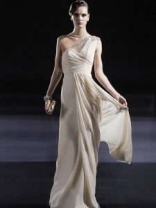 Admirable One Shoulder Champagne Sleeveless Floor Length Ruching Criss Cross Mother Of The Bride Dress