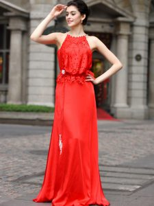 Scoop Coral Red Sleeveless Floor Length Beading and Appliques Zipper Mother Of The Bride Dress