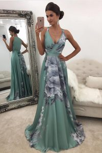 Printed Pattern Mother Of The Bride Dress Green Zipper Sleeveless With Train Sweep Train