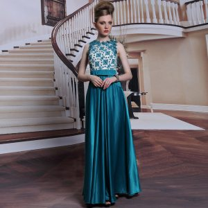 Scalloped Teal Column/Sheath Beading and Appliques Mother of Groom Dress Clasp Handle Satin Sleeveless Floor Length