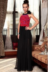 Scoop Sleeveless Chiffon Floor Length Side Zipper Mother Of The Bride Dress in Red And Black with Ruching and Hand Made Flower