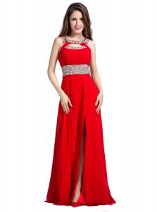 Red Mother Of The Bride Dress Prom and Party with Beading Square Sleeveless Zipper