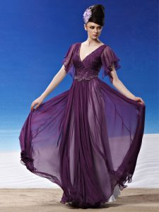 Beauteous Short Sleeves Side Zipper Ankle Length Beading and Ruching Mother Of The Bride Dress