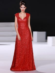 Sumptuous Red Zipper V-neck Sequins Mother Of The Bride Dress Sequined Sleeveless