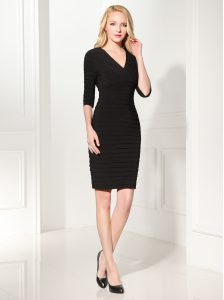 Half Sleeves Mini Length Ruffles Zipper Mother Of The Bride Dress with Black