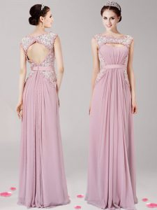 Scoop Sleeveless Floor Length Appliques Zipper Mother Of The Bride Dress with Pink