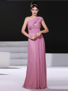 One Shoulder Sleeveless Mother Of The Bride Dress Ruching Lilac Chiffon