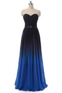 New Style Blue And Black Empire Sweetheart Sleeveless Chiffon Floor Length Lace Up Ruching and Belt Mother Of The Bride Dress