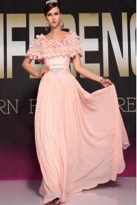 Sophisticated Pink Side Zipper Scoop Ruffles and Belt Mother Of The Bride Dress Chiffon Short Sleeves