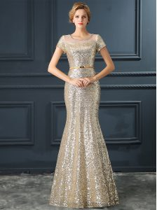 Fancy Mermaid Scoop Cap Sleeves Floor Length Zipper Mother Of The Bride Dress Champagne for Prom and Party with Sequins and Belt