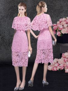 Pink Column/Sheath Lace Scoop Half Sleeves Lace Knee Length Zipper Mother Of The Bride Dress