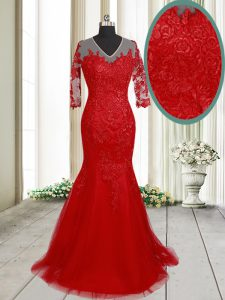 Mermaid Lace Mother Of The Bride Dress Red Clasp Handle Half Sleeves With Brush Train