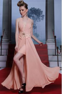 Fashionable Chiffon Sleeveless Floor Length Mother of the Bride Dress and Beading and Appliques