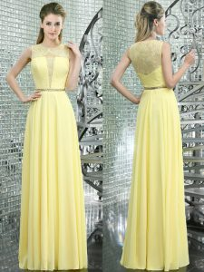 Free and Easy Scoop Floor Length Empire Sleeveless Yellow Mother Of The Bride Dress Side Zipper