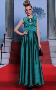 Vintage Scoop Sleeveless Side Zipper Mother Of The Bride Dress Teal Chiffon