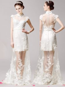Fine Brush Train Empire Mother Of The Bride Dress White High-neck Tulle Cap Sleeves With Train Clasp Handle
