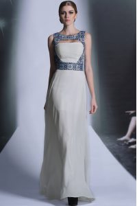 White Mother Of The Bride Dress Prom and Party with Embroidery Bateau Sleeveless Zipper