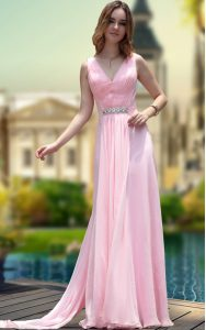 Comfortable Chiffon Sleeveless Floor Length Mother Of The Bride Dress and Beading