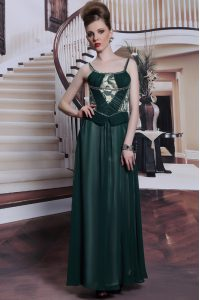 Teal Spaghetti Straps Neckline Embroidery Mother Of The Bride Dress Sleeveless Zipper