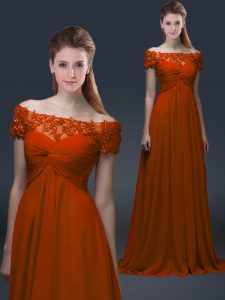 Admirable Rust Red Off The Shoulder Neckline Appliques Mother Of The Bride Dress Short Sleeves Lace Up